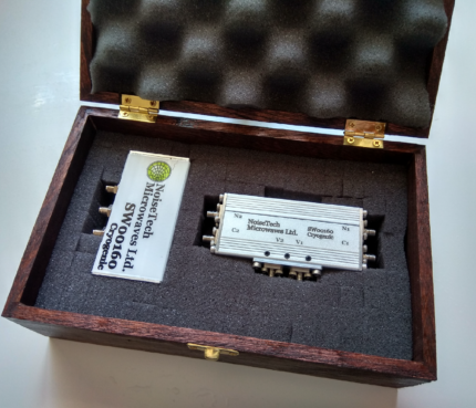 Photo of the cryogenic dual SPDT C-SW00160 switch matrix. The switch matrix is USB controlled and operates from 0.01 to 6GHz.