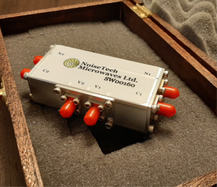 Photo of the dual SPDT SW00160 switch matrix. The switch matrix is USB controlled and operates from 0.01 to 6GHz.